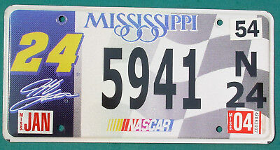 2004 Mississippi  #24 JEFF GORDON  NASCAR  license plate