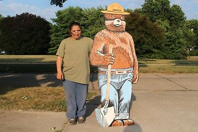 """Large Vintage Smokey Bear Forest Park Hunting Fishing Gas Oil 68"""" Wood Sign~Nice"""