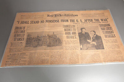1917 Newspaper New York American WWI Headlines, Lusitania, and Bank, Realty Ads