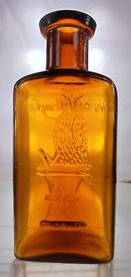 """The Owl Drug Co. Antique Prescription Bottle. Amber 4.375"""" Rare One Wing Minty!"""