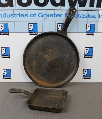 Lot of 2 Cast Iron Skillets LODGE & OLD MOUNTAIN