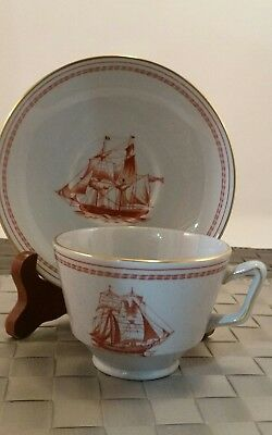 $49 Spode Trade Winds Red Cup & Saucer Set