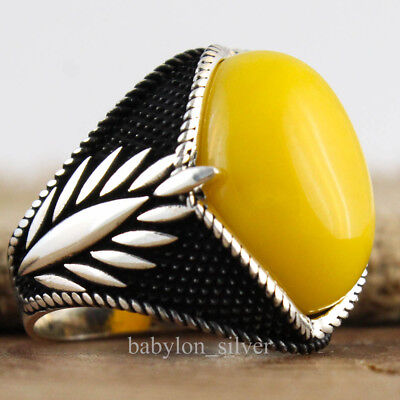 925 Sterling Silver Agate Stone Turkish Handmade Men Ring Size 10.25 US