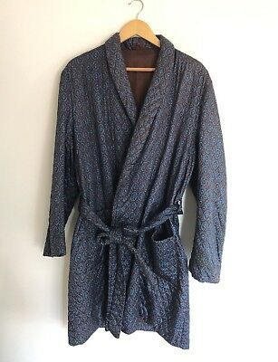 Vintage JAEGER Quilted Dressing Gown Night Robe Smoking Jacket 1 Size Made In UK