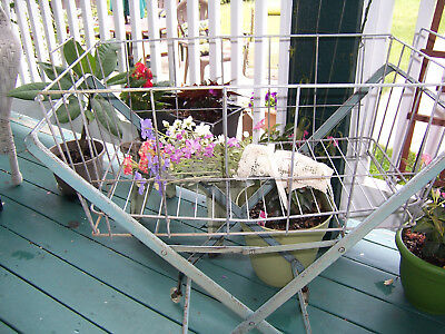 Antique Vintage Blue Metal Wire Rolling Laundry Basket on Wheels Cart Stand