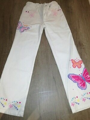 Girls white bootleg jeans by Matthew Williamson Butterfly age 8 years