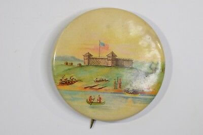 RARE Plymouth Rock Fort Pilgrims & Indians Thanksgiving Button WHITEHEAD & HOAG
