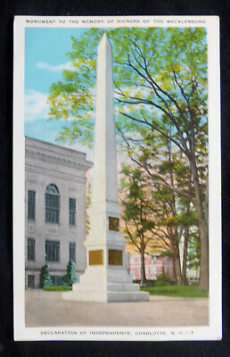 Charlotte, NC, Monument to Signers of Mecklenburg Declaration, circa 1920's