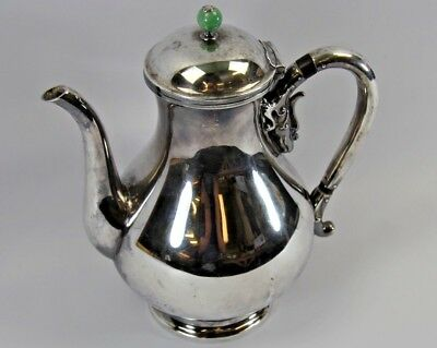 Antique Japanese Sterling Silver Teapot Green Jade Knob & Dragon Handle Japan