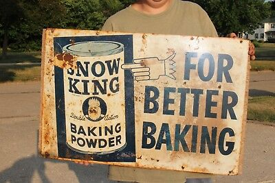 "Vintage 1930's Snow King Baking Powder Bread Gas Oil 27"" Metal Sign"
