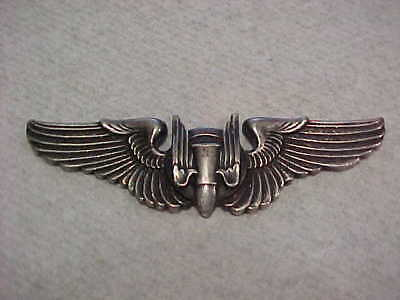 """Vintage 3"""" Us Wwii Bomber Pilot Sterling Silver Wings"""