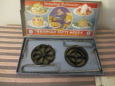 Vintage GRISWOLD Cast Iron PATTY MOLDS Original Box Shallow Pattern Recipes No 1