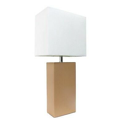 Elegant Designs 21 in. Modern Beige Leather Table Lamp with White Fabric Shade