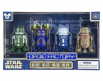 Disney Parks Star Wars 2017 Droid Factory 4 Pack R5-013 R2-C2 R5-S9 R5-P8