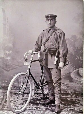 Original - Ww1 German Armed Bicycle Battalion Messenger Real Cabinet Photograph