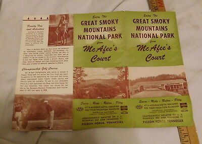 vintage Great Smoky Mountains National Park McAfee's Court Pigeon Forge brochure