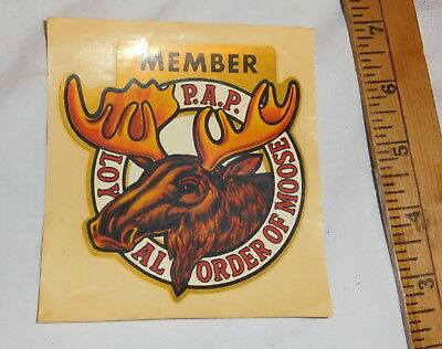 vintage Member P.A.P. Loyal order Of Moose Window Decal sticker