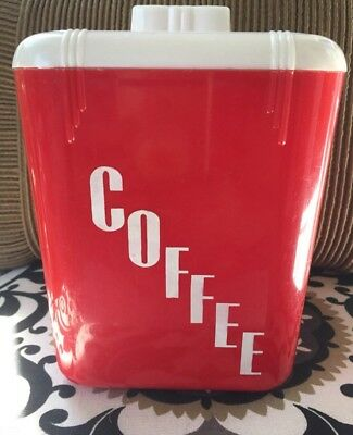 Rona Plastic Corp. red coffee canister Vintage