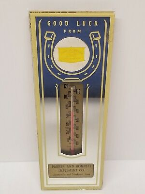 John Deere Tractor Advertising Mirror Thermometer SIGN Libertyville Stockport Ia