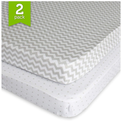 Pack N Play Playard Sheet Set (2 Pack) Fitted Jersey Knit Cotton Portable Mini C