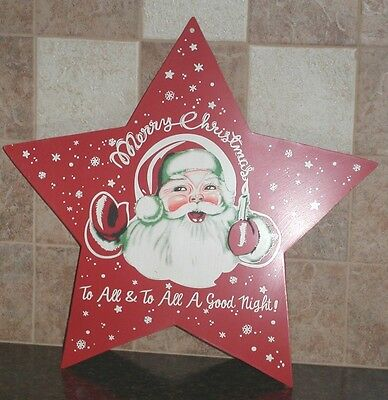 "9.5"" Merry Christmas To All METAL SANTA 5 Point BARN STAR Holiday Country Decor"