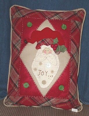 "COUNTRY CHRISTMAS CRIMSON Quilted Pillow 15"" x 12"" Vintage Santa Joy in Center"