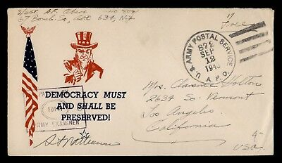 DR WHO 1943 APO 873 FREE FRANK TO USA WWII PATRIOTIC CACHET CENSORED  d37227