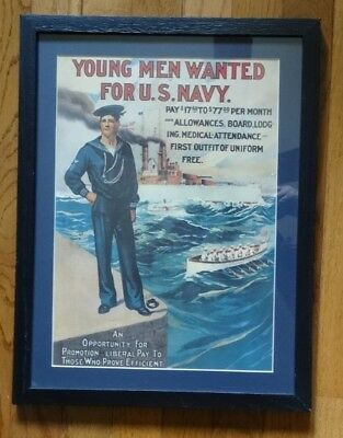 Young Men Wanted for U.S. Navy -- WWI Recruiting Poster.  Military Collectible