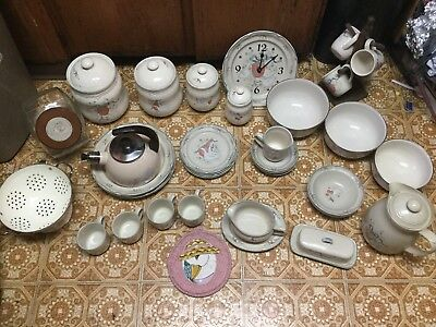 Vintage duck theme ceramic kitchen set. Never used. Made in the 1970's in Japan