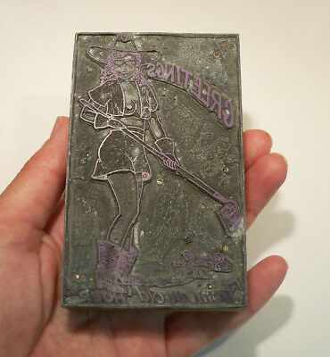 Adult Theme Vintage Letterpress Printing Block GREETINGS From Old Hoer Cowgirl