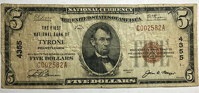 1929 The First National Bank of Tyrone, Pa National Banknote Scarce Very Good
