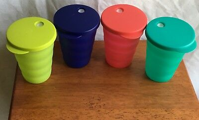 Tupperware Impressions 11 oz Tumblers with Drip Less Straw Seals Set of 4 NEW