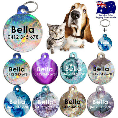 Metal Personalized Pet cat dog Tag Custom Stripes Key ring Name Tags opal marble