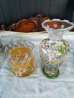 Tracy Porter Hand Painted Vase & Candle Holder Glass - Pink, Green, Gold