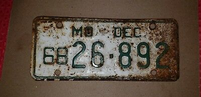 December 1968 MISSOURI MOTORCYCLE LICENSE PLATE 26-892