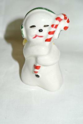 Vintage Snowman With Candy Cane Ear Muffs Ceramic Japan