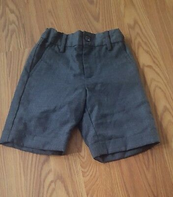 JANIE AND JACK Boys Special Occasion Grey Wool Herringbone Suit Shorts, size 4