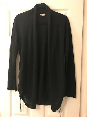 A Pea in the Pod Women's Cardigan, size M, Black With Ruching Side Detail