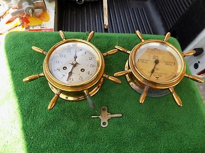 Vintage Ships Bell Ship Wheel Clock 8 Day & Tide Clock SCHM Time And Tide Estate