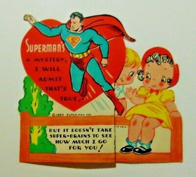 1940 Superman fold out Valentines Day Card