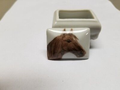 Vintage Horse Signed Pill Box