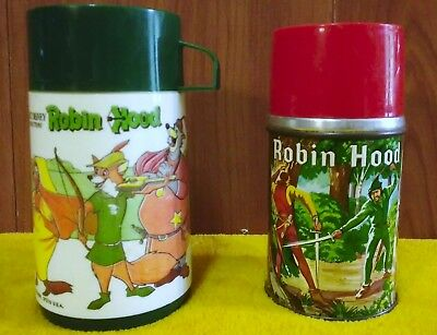 Robin Hood Thermoses; Vintage; For 1956 and 1974 Lunchboxes; Fair Cond.; Aladdin
