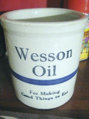 Antique Vintage Wesson Oil Stoneware Advertising Beater Jar Utensil Crock Blue