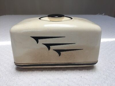 Vintage Universal Potteries Art Deco Black and White Butter Dish