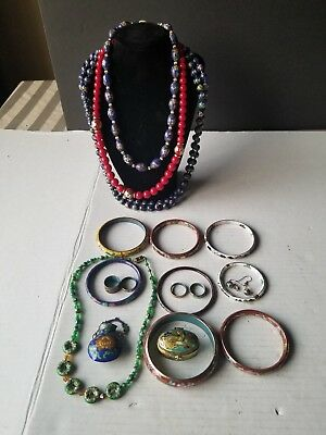 Vintage Colorful Cloisonne Jewelry Lot bracelets, necklaces and other pieces