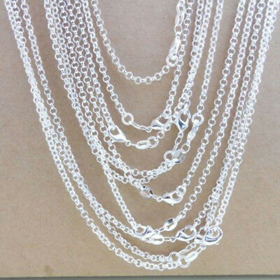 "Wholesale 10Pcs 1mm 925 Sterling Silver Plated ""O"" Rolo Chain Necklace 16-24"""
