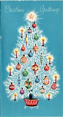 MCM Prism Garland Aqua Teal Shiny Brite Ornaments VTG Christmas Greeting Card