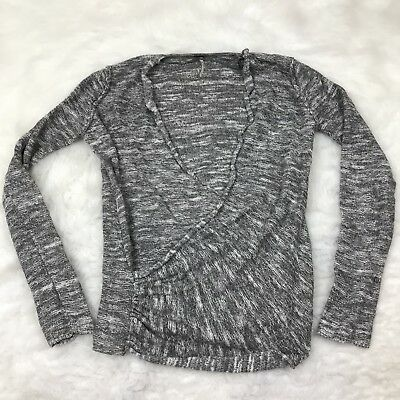 Free People Size S Wrap Front Marled Knit Sweater Long Sleeve Gray