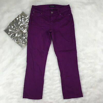 WHBM Purple Slim Leg Crop Capri Pants Size 0 Stretch Fit Casual