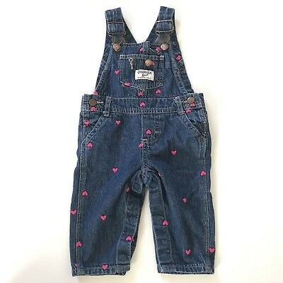OshKosh B'Gosh Baby Girls Overalls Size 6 Months Pink Hearts Vestbak Denim